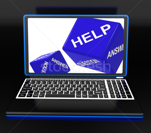 Help Dices On Laptop Showing Support Stock photo © stuartmiles