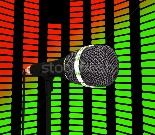 Graphic Equalizer And Microphone Shows Pop Music Soundtrack Or C Stock photo © stuartmiles