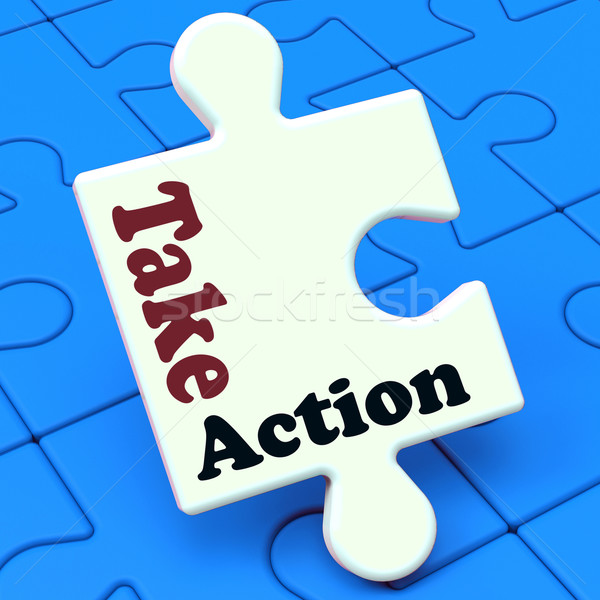 Take Action Puzzle Shows Inspire Inspirational And Motivate Stock photo © stuartmiles