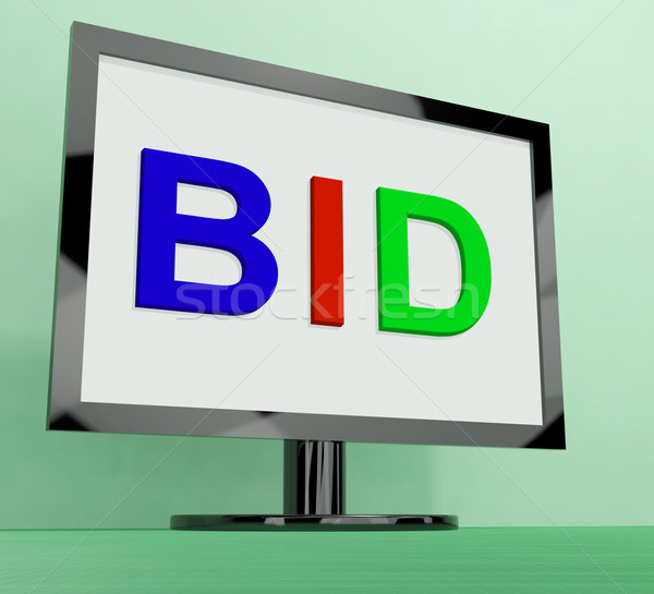 Stock photo: Bid On Monitor Shows Bidding Or Auction