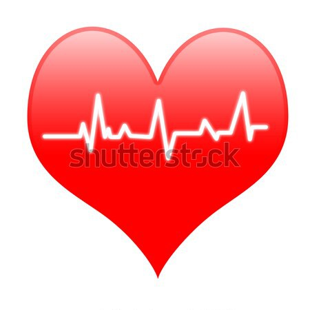 Electro On Heart Means Passionate Heartbeat Or Loving Beat Stock photo © stuartmiles