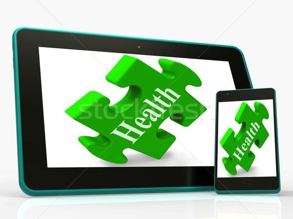 Egészség okostelefon néz magad jólét jelentés Stock fotó © stuartmiles