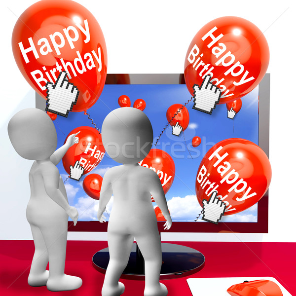 Happy Birthday Balloons Show Festivities and Invitations Interne Stock photo © stuartmiles