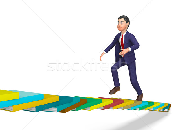 Businessman Going Up Represents Triumph Progress And Staircase Stock photo © stuartmiles