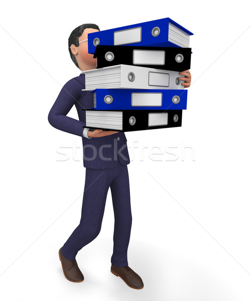 Businessman Carrying Files Shows Organize Commerce And Professional Stock photo © stuartmiles