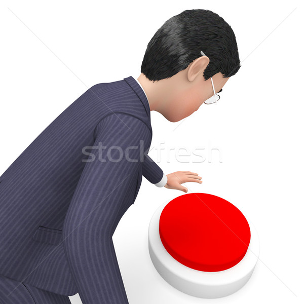 Businessman Pushing Button Shows Commercial Knob And Pushes Stock photo © stuartmiles