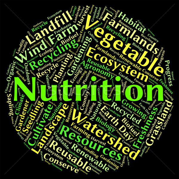 Nutrition Word Shows Nutrients Food And Words Stock photo © stuartmiles