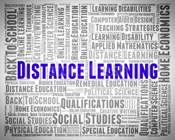 Distance Learning Words Represents Study Text And Education Stock photo © stuartmiles