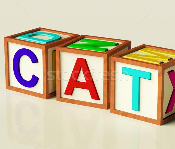 çocuklar bloklar yazım kedi simge kediler Stok fotoğraf © stuartmiles