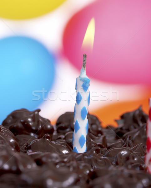 Stock fotó: Születésnapi · torta · egyéves · gyermek · léggömbök · étel · torta