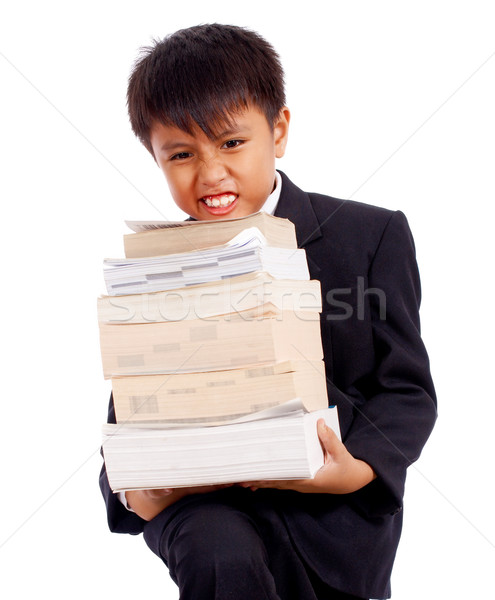 Boy With Lots Of Homework Carrying Books Stock photo © stuartmiles
