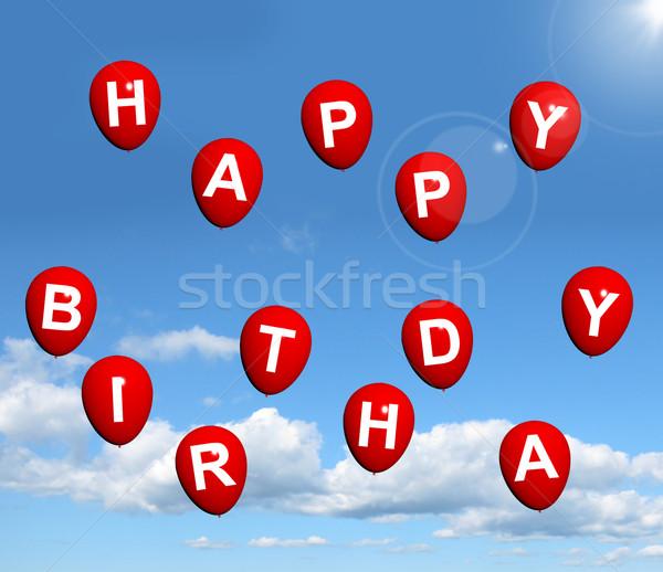 Stockfoto: Rood · ballonnen · hemel · spelling · gelukkige · verjaardag