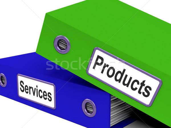 Termékek szolgáltatások akták előadás elad kiskereskedelem Stock fotó © stuartmiles
