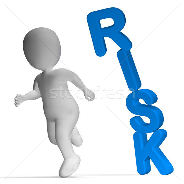 Risk And 3d Character Showing Peril And Uncertainty  Stock photo © stuartmiles
