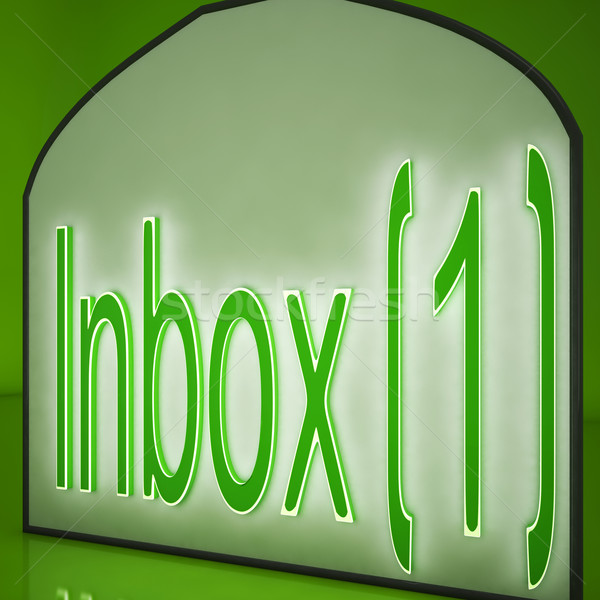 Inbox One Sign Showing Electronic Mail Inbox Stock photo © stuartmiles