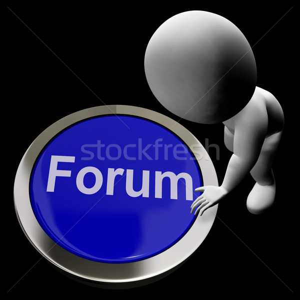 Forum Button Meaning Social Media Community Or Getting Informati Stock photo © stuartmiles
