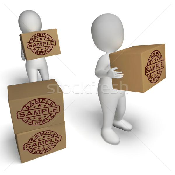 Sample Stamp On Boxes Shows Example Symbol Or Taste Stock photo © stuartmiles
