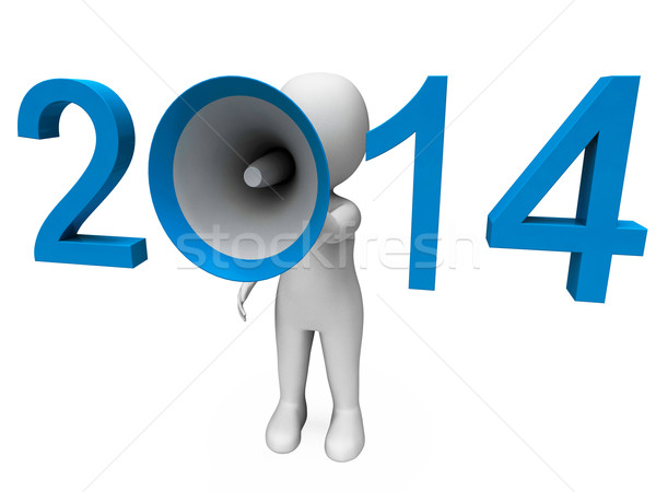 Two Thousand Fourteen Loud Hailer Shows Year 2014 Stock photo © stuartmiles