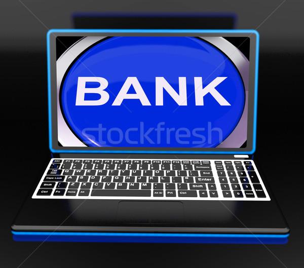 Bank On Laptop Shows Web Www Or Electronic Banking Stock photo © stuartmiles