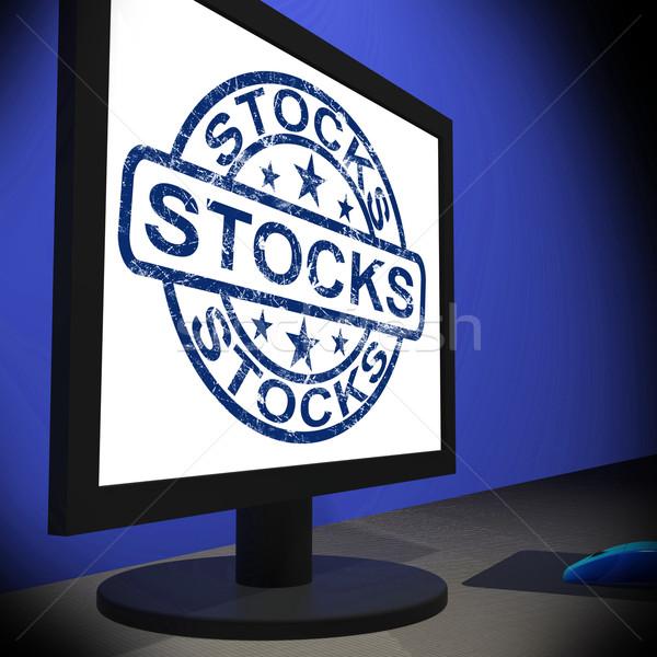 Stocks Screen Shows Shares Growth And Stock Market Stock photo © stuartmiles