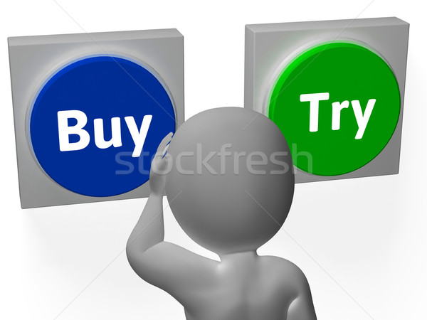 Stock photo: Buy Try Buttons Show Buyer Purchase Decision