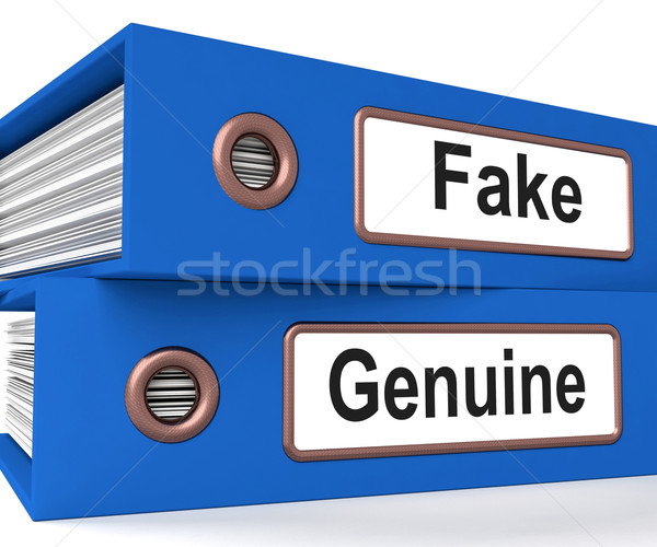 Fake Genuine Folders Show Real Or Imitation Products Stock photo © stuartmiles