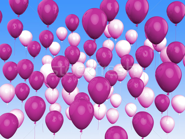 Floating Purple And White Balloons Show Girly Birthday Party Stock photo © stuartmiles