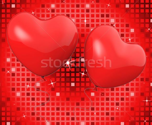 Kalp balonlar göstermek romantik dekorasyon yıldönümü Stok fotoğraf © stuartmiles