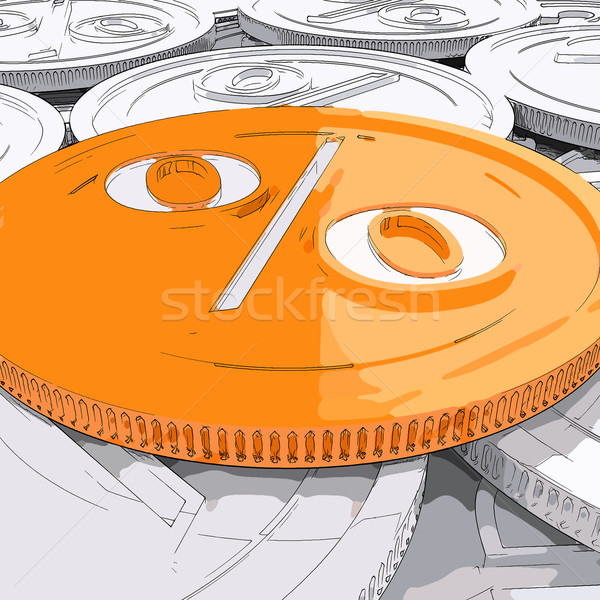 Percentage Coin Shows Interest  Earn And Owed Stock photo © stuartmiles