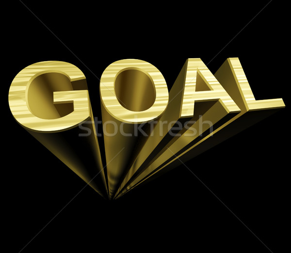Goal Text In Gold And 3d As Symbol For Aiming And Target Stock Photo