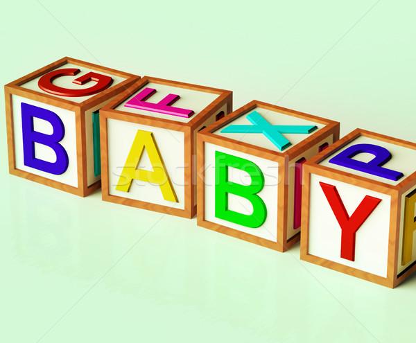çocuklar bloklar yazım bebek simge bebekler Stok fotoğraf © stuartmiles