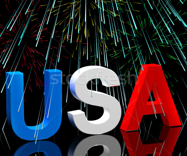 Usa Word And Fireworks As Symbol For America And Patriotism Stock photo © stuartmiles