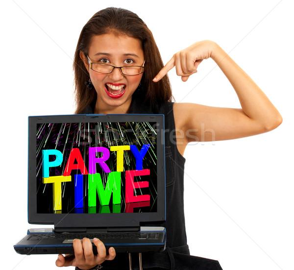 Menina tempo de festa tela celebração on-line Foto stock © stuartmiles