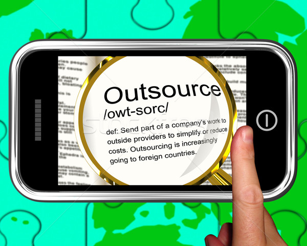Outsource Definition On Smartphone Showing Freelance Jobs Stock photo © stuartmiles