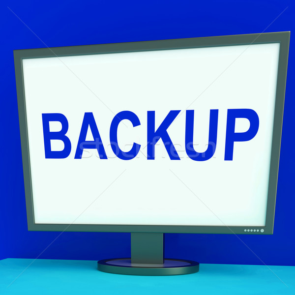 Backup Screen Shows Archiving Back Up And Storage Stock photo © stuartmiles