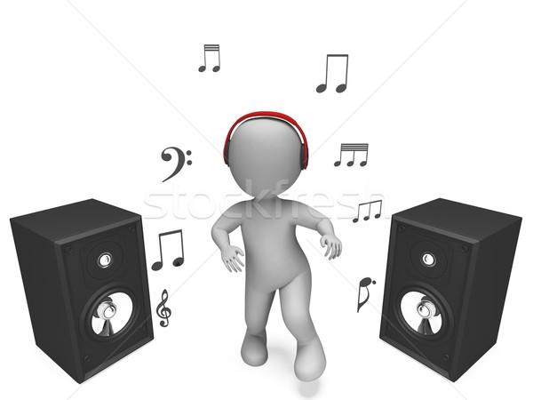 Dinleme müzik karakter kulaklık hoparlörler Stok fotoğraf © stuartmiles