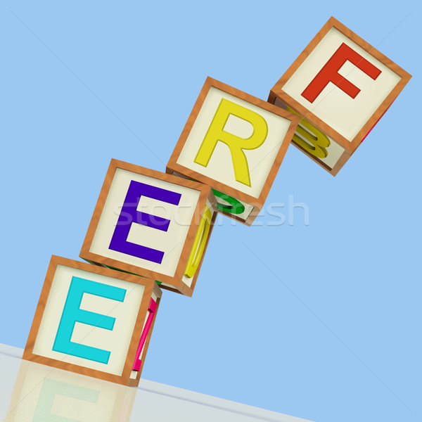 Free Blocks Mean Gratis Or Without Charge Stock photo © stuartmiles