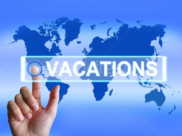 Vacations Map Means Internet Planning or Worldwide Vacation Trav Stock photo © stuartmiles