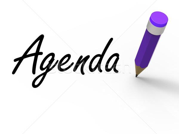 Agenda With Pencil Means Written Agendas Schedules or Outlines Stock photo © stuartmiles