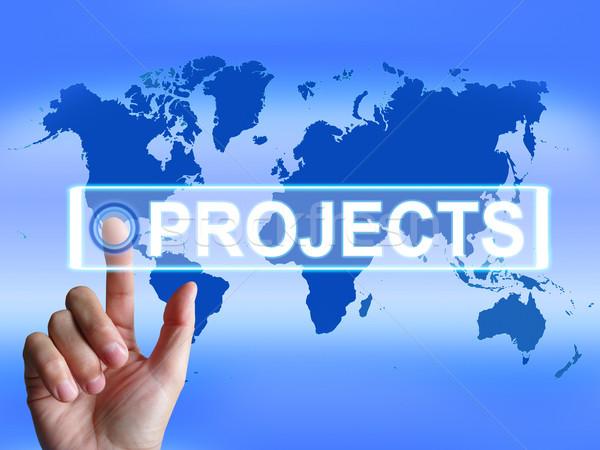Projects Map Indicates International or Internet Task or Activit Stock photo © stuartmiles