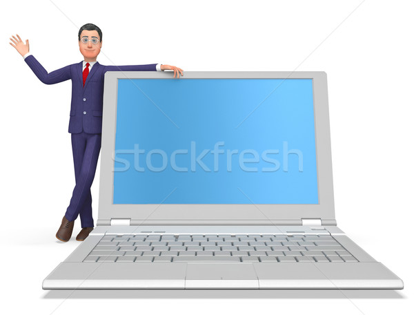 Businessman On Laptop Means Blank Space And Biz Stock photo © stuartmiles