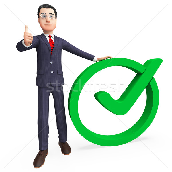 Businessman With Tick Means Check Corporation And Confirmed Stock photo © stuartmiles