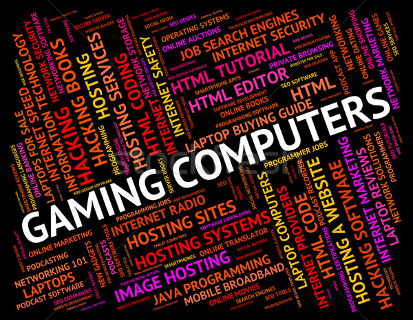 Gaming Computers Means Play Time And Processor Stock photo © stuartmiles