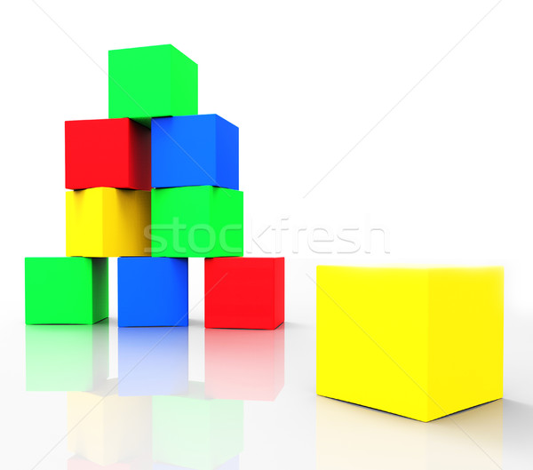 Kids Blocks Indicates Colors Cube And Spectrum Stock photo © stuartmiles