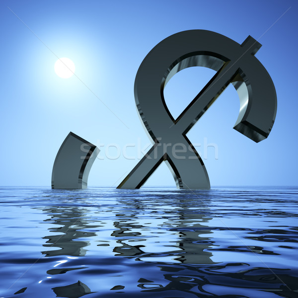 Dollar Sinking In The Sea Showing Depression Recession And Econo Stock photo © stuartmiles