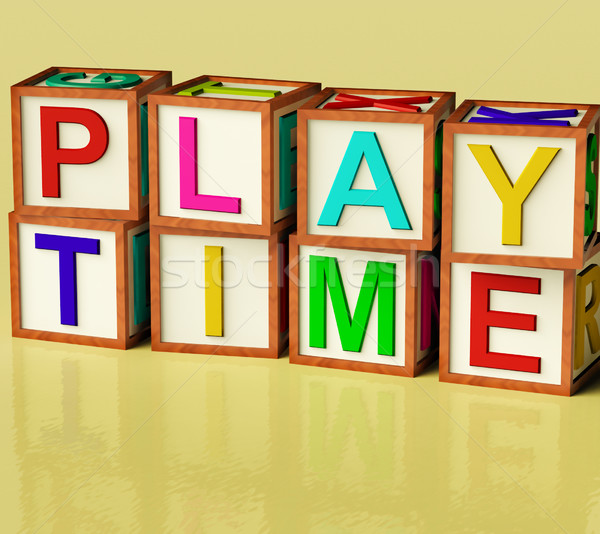 Kids Blocks Spelling Play Time As Symbol for Fun And School Stock photo © stuartmiles
