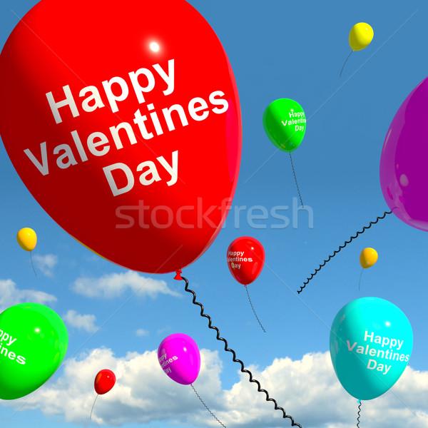 Stock fotó: Boldog · valentin · nap · léggömbök · égbolt · mutat · szeretet