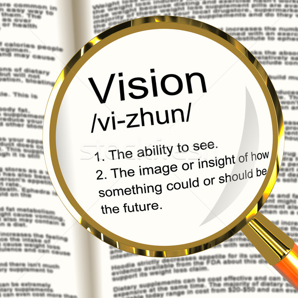 Vision Definition Magnifier Showing Eyesight Or Future Goals Stock photo © stuartmiles