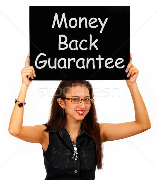 Geld Maakt een reservekopie garanderen boord meisje Stockfoto © stuartmiles