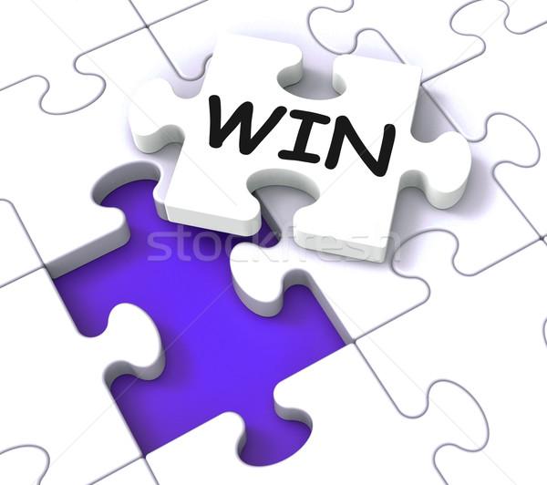 Win Puzzle Shows Success Winner Succeeding Stock photo © stuartmiles